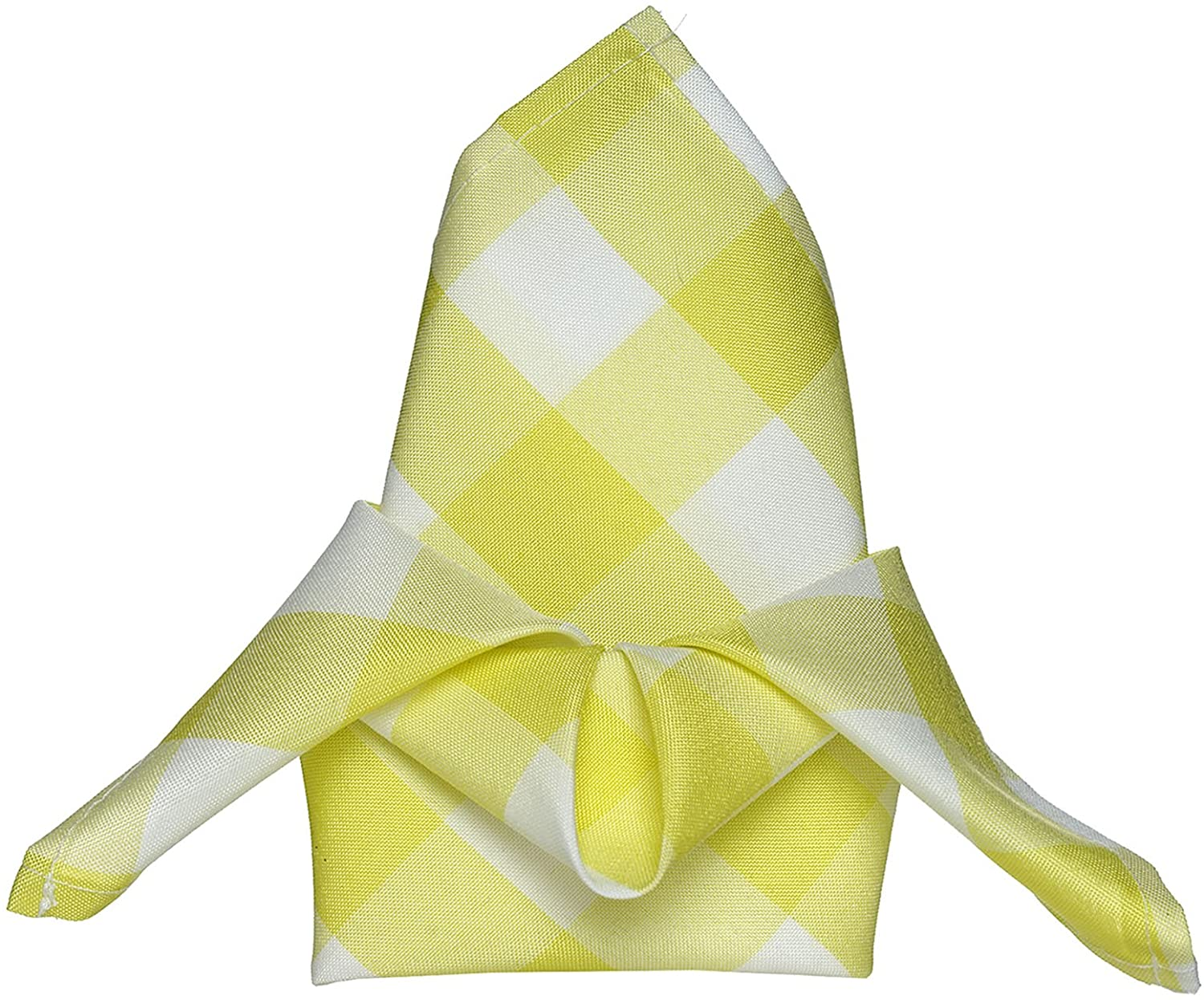BalsaCircle 20 pcs 15x15-Inch Yellow on White Gingham Checkered Polyester Luncheon Napkins - for Wedding Party Restaurant Dinner