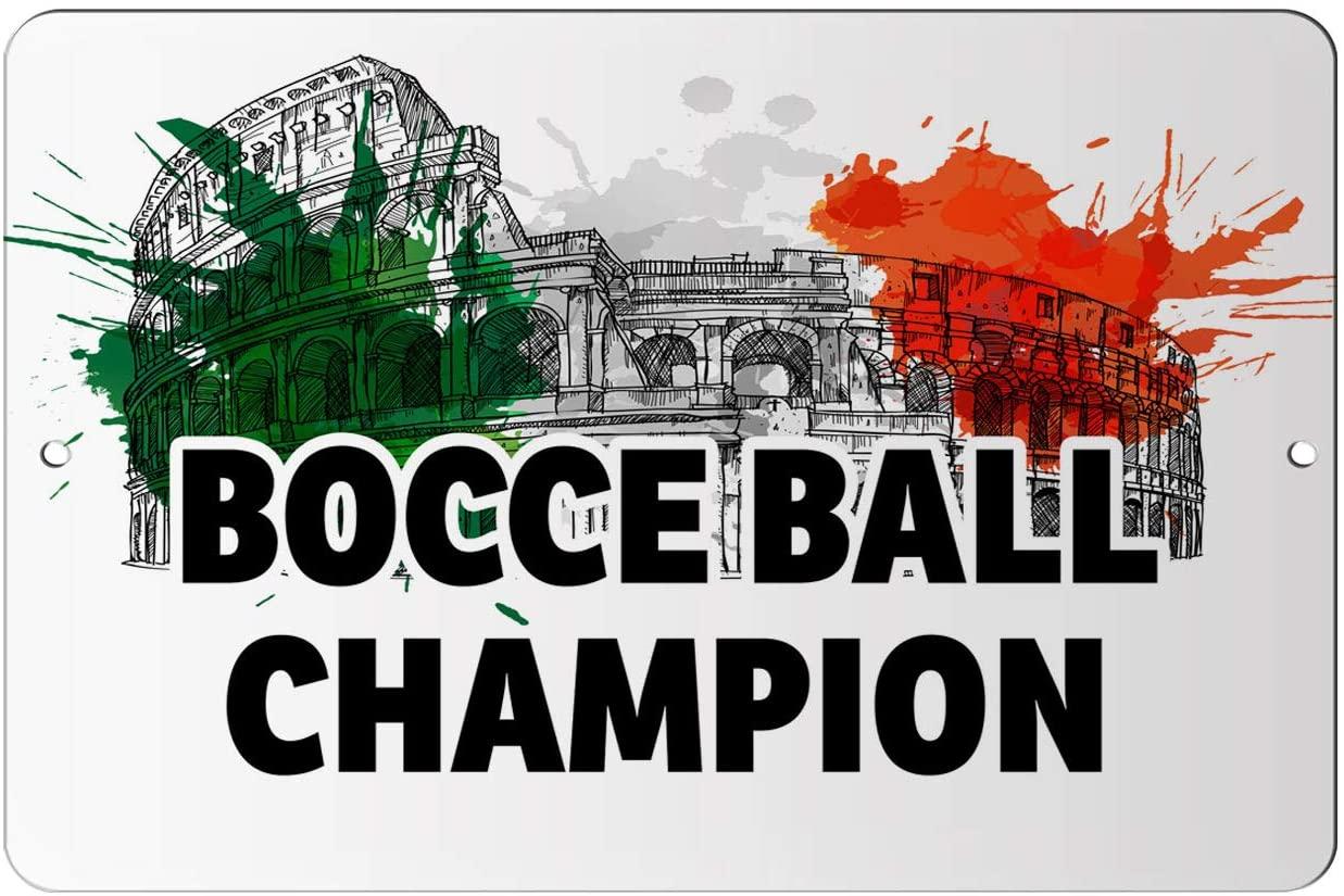 Makoroni - Bocce Ball Champion Italian 12x18 inc Aluminum Decorative Wall Street Sign