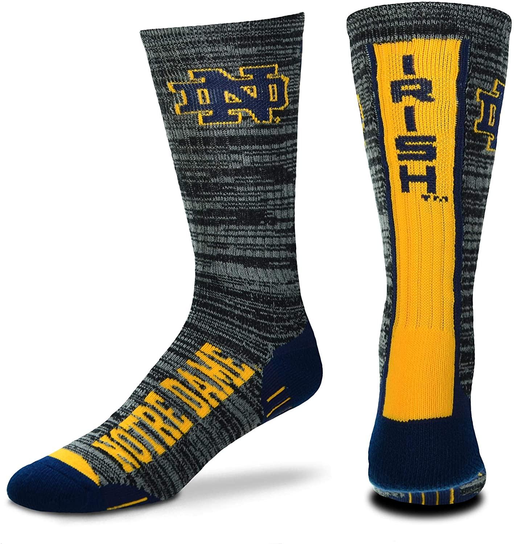 For Bare Feet NCAA Mens Team Vortex RMC Crew Socks-Medium & Large Sizes-Notre Dame Fighting Irish-Medium (5-10)