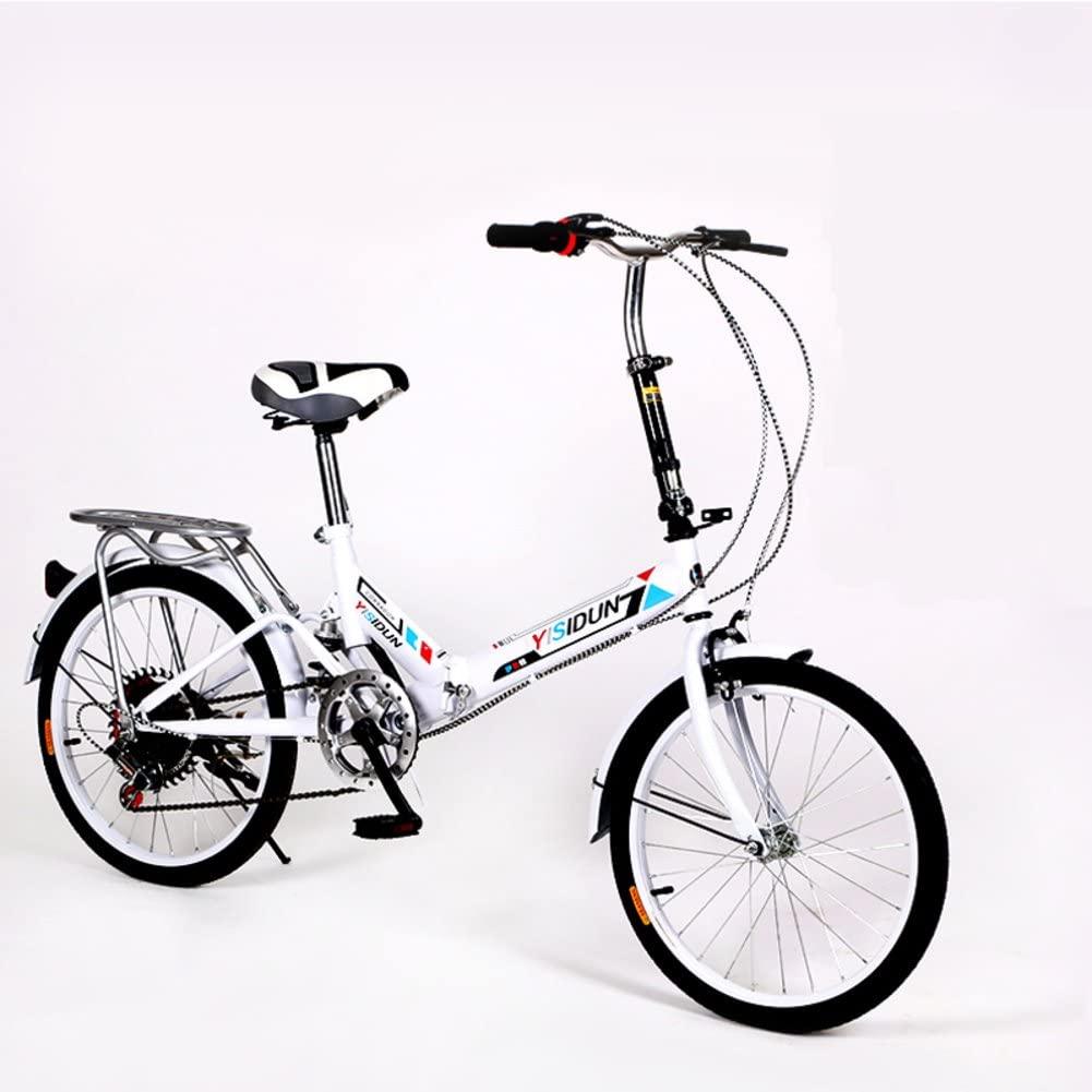 HIKING BK 20-inch Folding Bike 6-Speed Cycling Commuter Foldable Bicycle Women's Adult Student Car Bike Lightweight Aluminum Frame Shock Absorption-E 110x160cm(43x63inch)
