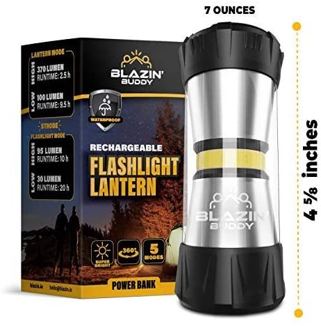 Blazin Buddy | Rechargeable Tent Light | 2 in 1 Portable LED Camping Tent Lantern Hanging Flashlight | 20 Hour Runtime | Power Bank - 370 Lumen - 6 Modes