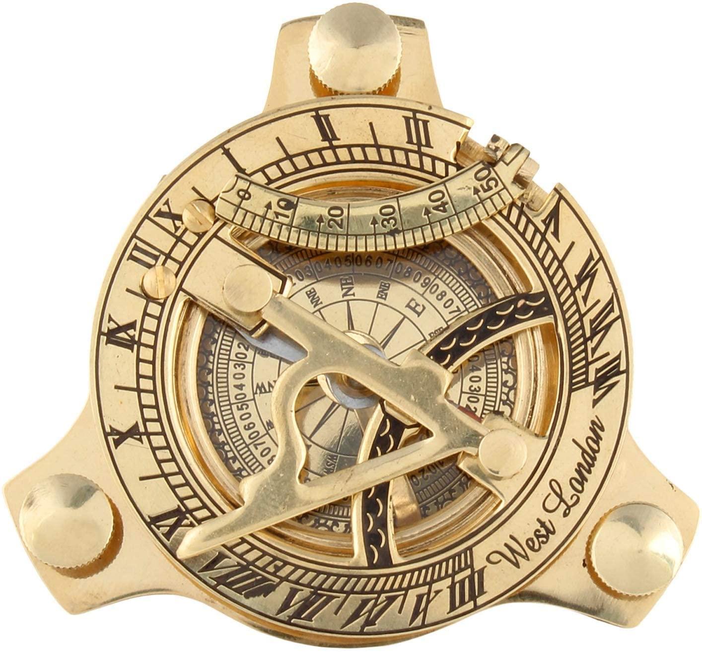 S.I Enterprises 3 Inch Brass Golden Sundial Compass. Sun Clock