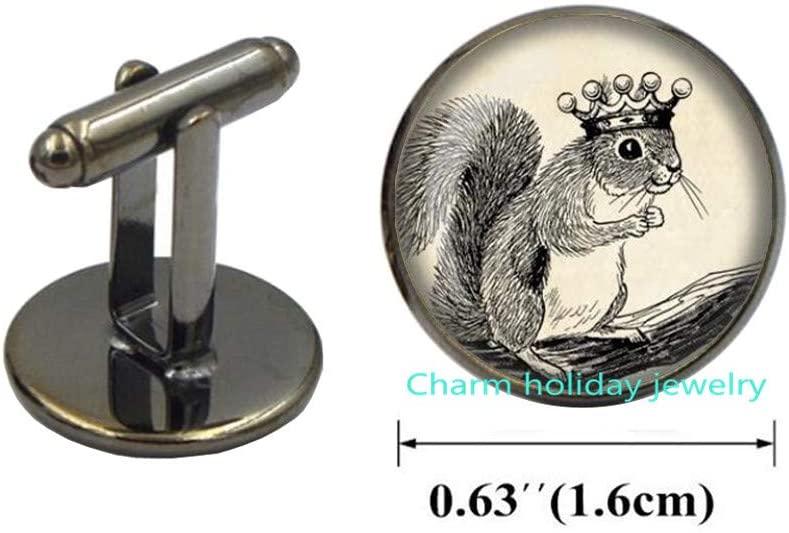 Squirrel Cufflinks Squirrel Cuff Links Wearable Art Jewelry Animal Cufflinks Royal Squirrel Jewelry, Bridesmaid Jewelry-#149