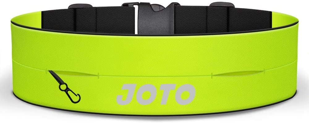 JOTO Running Belt Exercise Runner Belt for Men Women, Sport Waist Pack for iPhone 11 Pro Max/Xs Max/XR, Galaxy S10+/Note10+,Pixel 4 XL, Flip Running Belt Workout Cycling Hiking Fitness -Neon Yellow