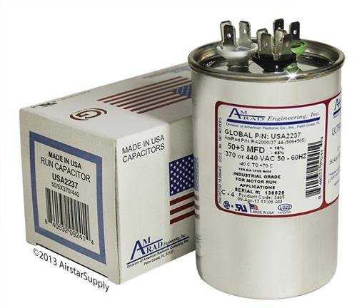 (2) Pack - Lennox 89M96-50 + 5 uf 370/440 Volt Volt VAC AmRad Round Dual Run Capacitor, Made in The U.S.A.