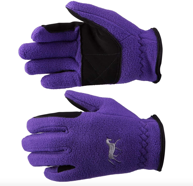 Finn-Tack Horze Kids Children's Violet Purple Size 5 Great Grip Soft Warm Fleece Winter Gloves