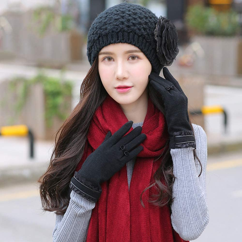 Uoyov 2019 and Winter Youth Ladies Hat Scarf Gloves Three-Piece Suit Thickening Plus Velvet Warm Ball Ball Cap Cold Warm and Soft Wool Lining Outdoor Mountaineering Ski Wool Gloves Set