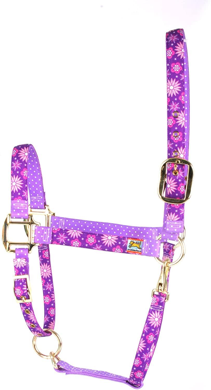 Red Haute Horse PUF1202 S High Fashion Horse Horse Halter, Purple Flowers