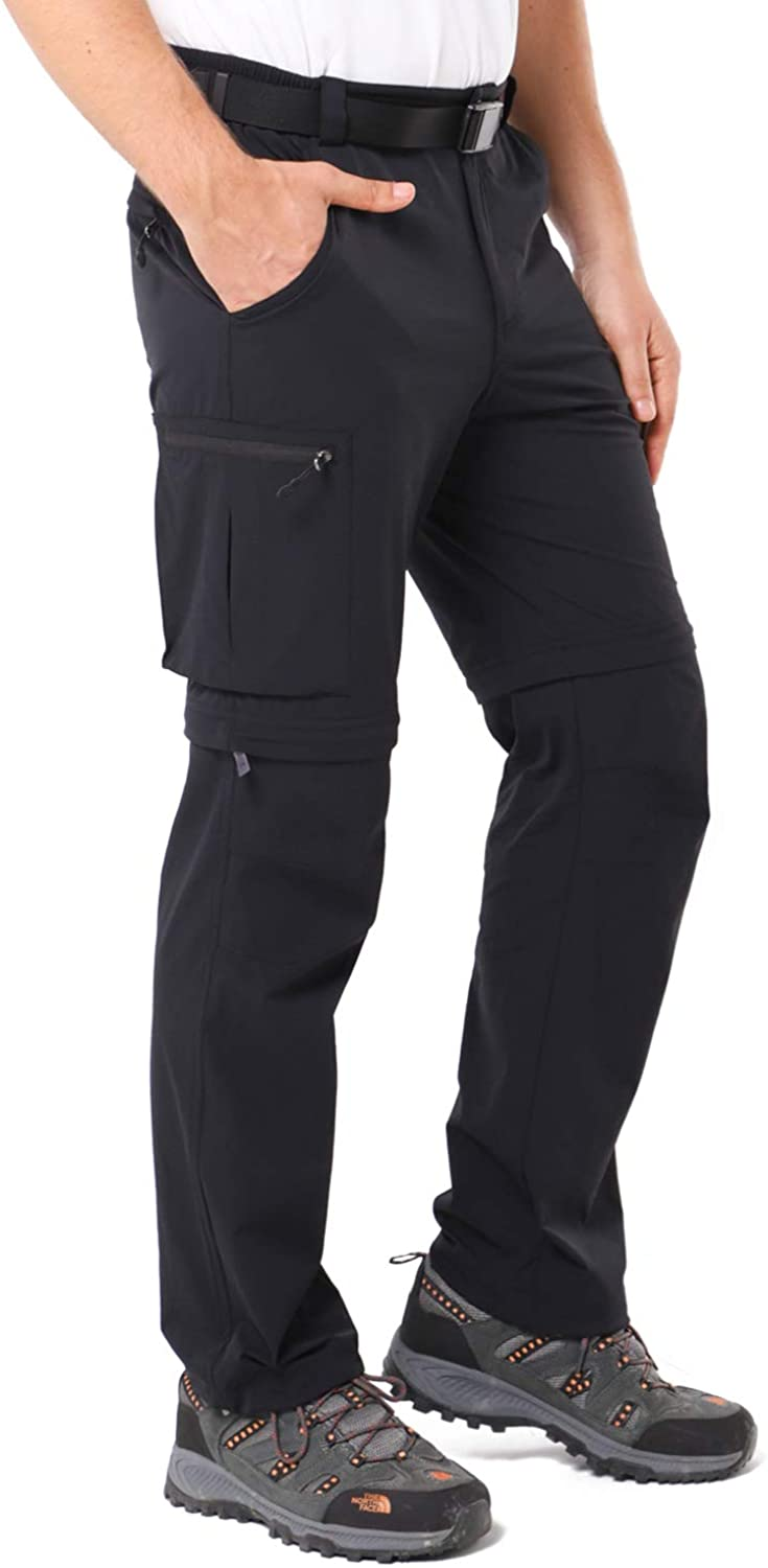 MIER Men's Convertible Hiking Pants Lightweight Quick Dry Outdoor Travel Nylon Pants, Stretch and Zip Off