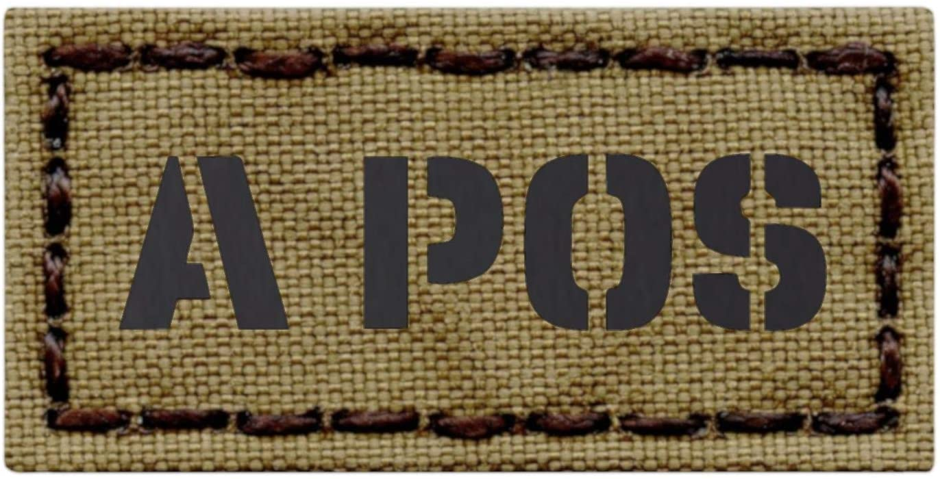 IR Mini Patch 1x2 Tan Coyote APOS A+ Blood Type Infrared Tactical Morale