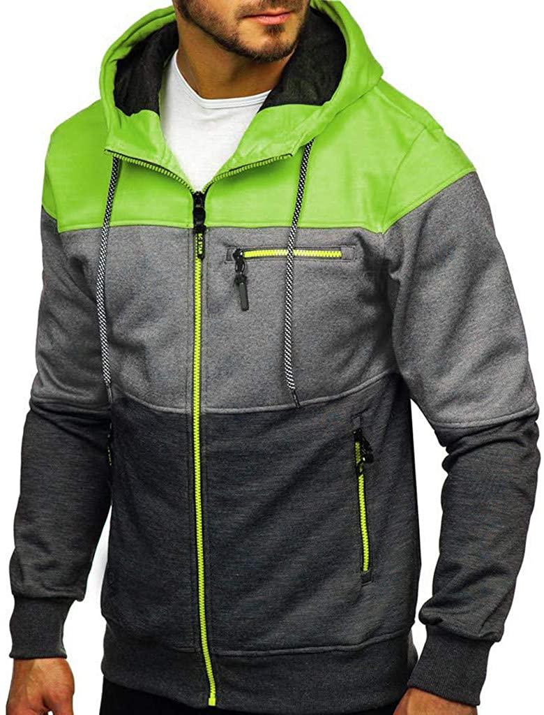 Men Slim Fit Long Sleeve Lightweight Zip-up Hoodie Active Sweatshirt Jackets Pullover Coat with Zip Pockets