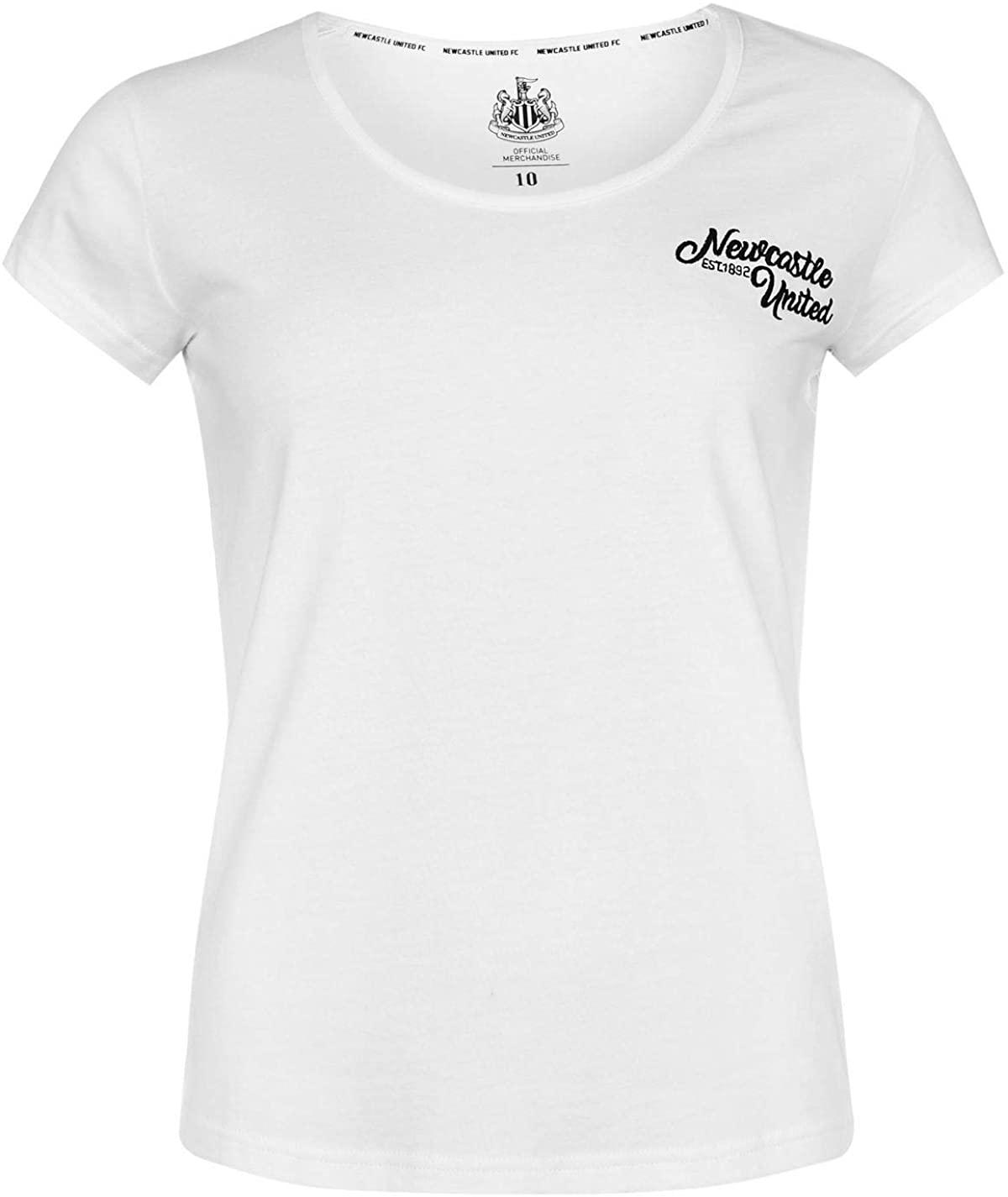NUFC Newcastle United Script T-Shirt Womens Football Soccer Fan Top Tee Shirt White UK 14 (Large)