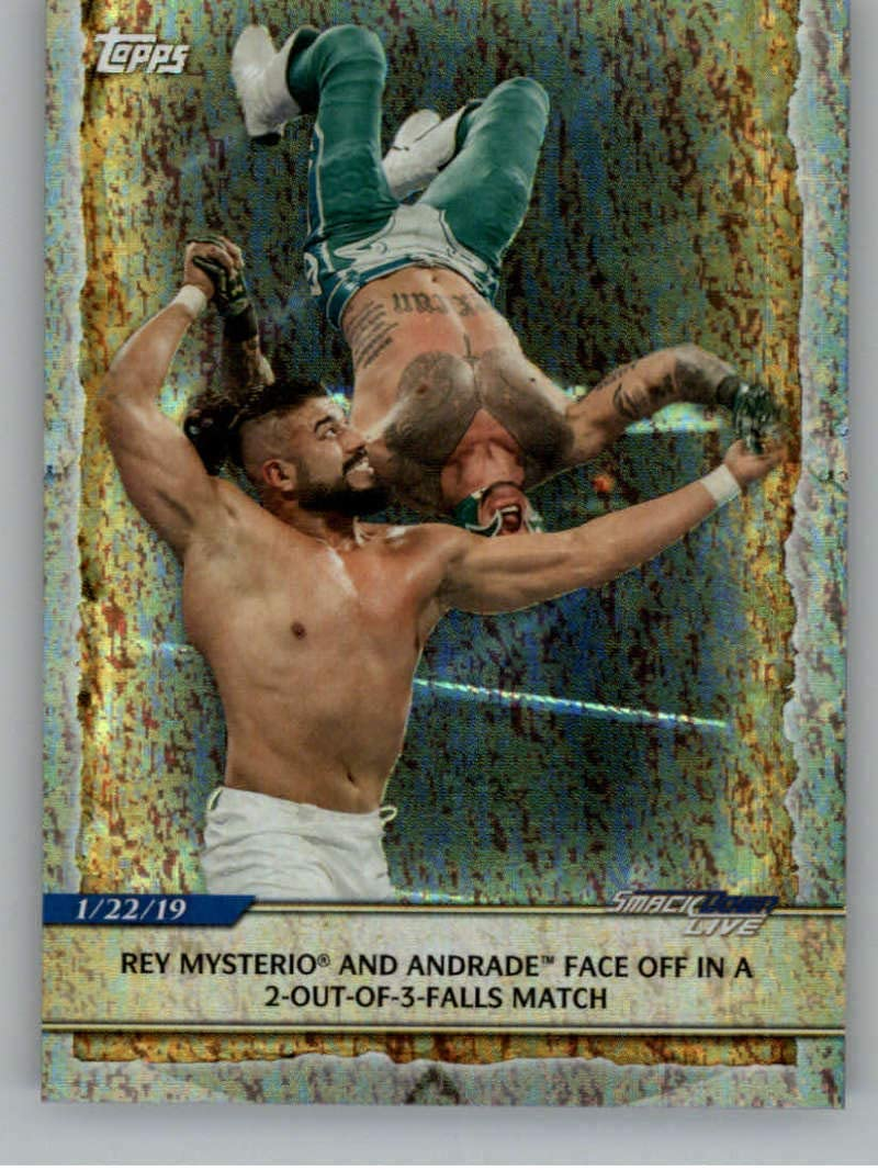 2020 Topps Road to WrestleMania Foilboard Wrestling #81 Rey Mysterio and Andrade Official World Wrestling Entertainment Trading Card From The Topps Company