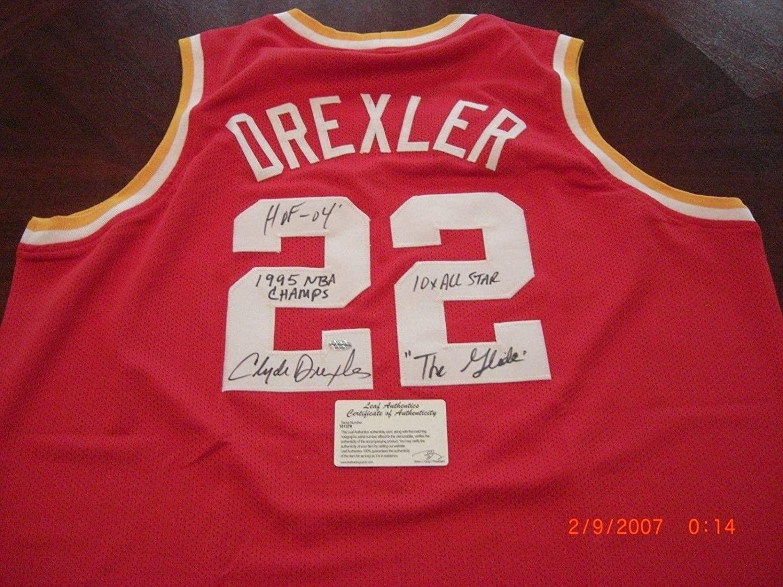 Autographed Clyde Drexler Jersey - 95 Champs hof 04 the Glide Leaf coa - Autographed NBA Jerseys