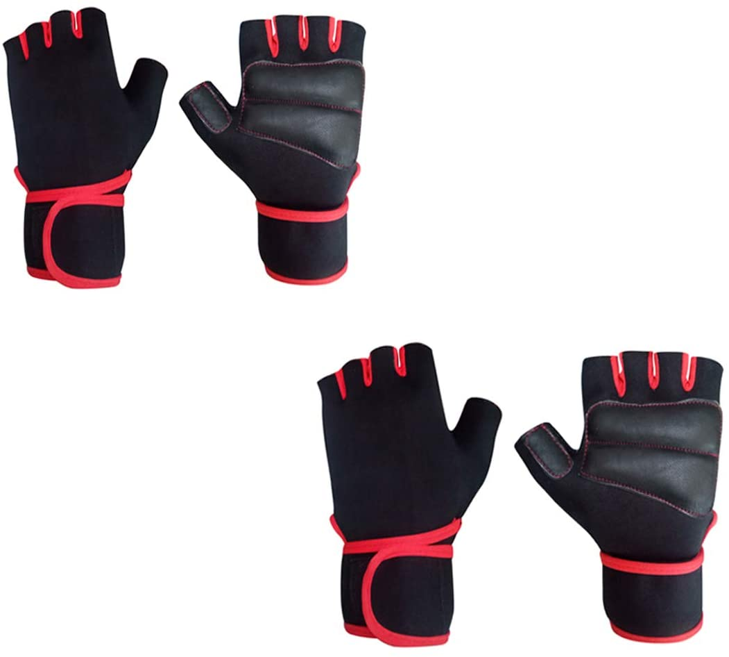 Snipper Combo of Lycra Gym Gloves for Weightlifting, Crossfit, Fitness & Other Sports with Wrist wrap Support for Men&Women (Pack of 2) (Red) Free Size