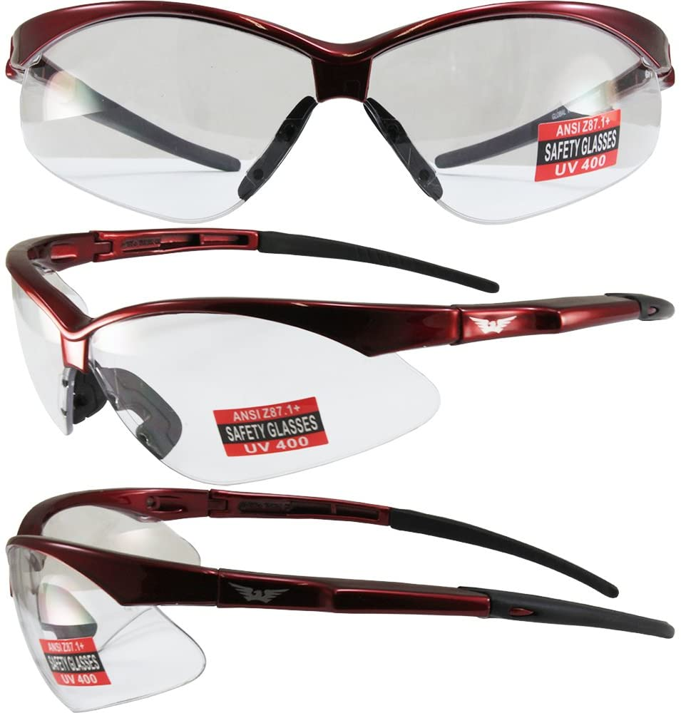 Global Vision Fast Freddie Safety Sunglasses Red Frame Clear Lenses ANSI Z87.1+
