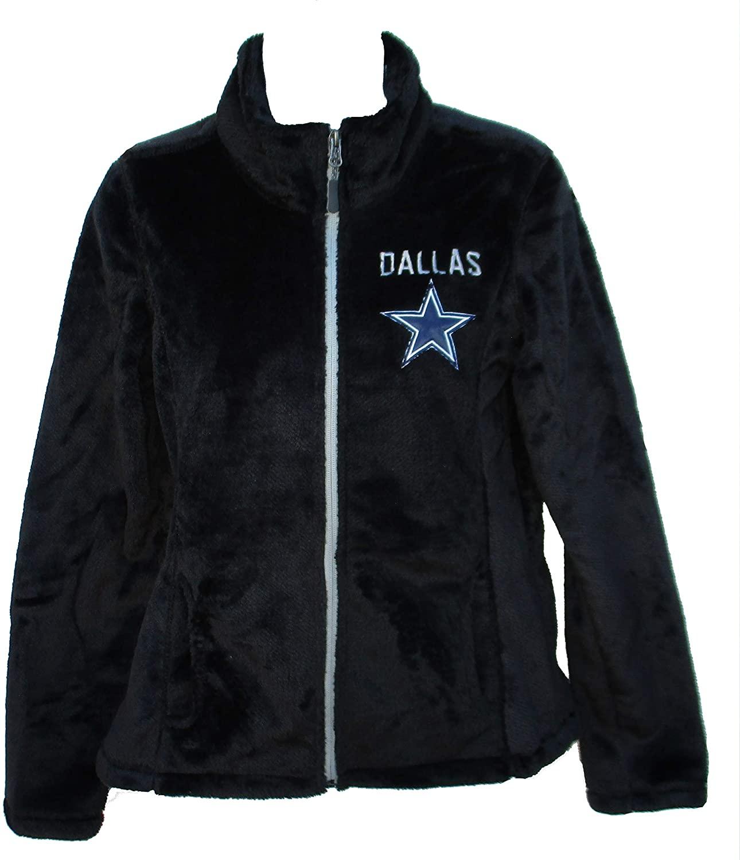 Dallas Cowboys Women's Size X-Large XL Full Zip Faux Fur Jacket - Black
