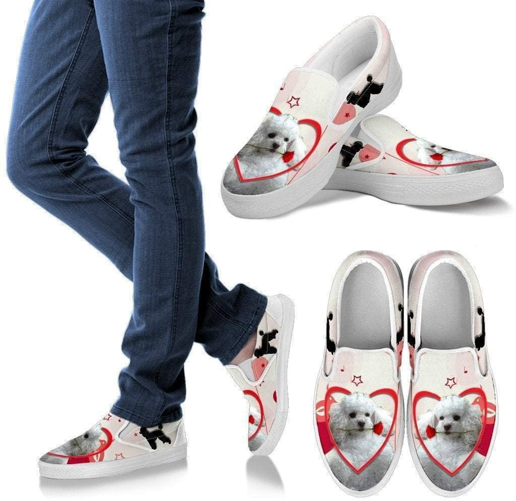 Paws With Attitude Valentine's Day Special Poodle Print Slip Ons for Women