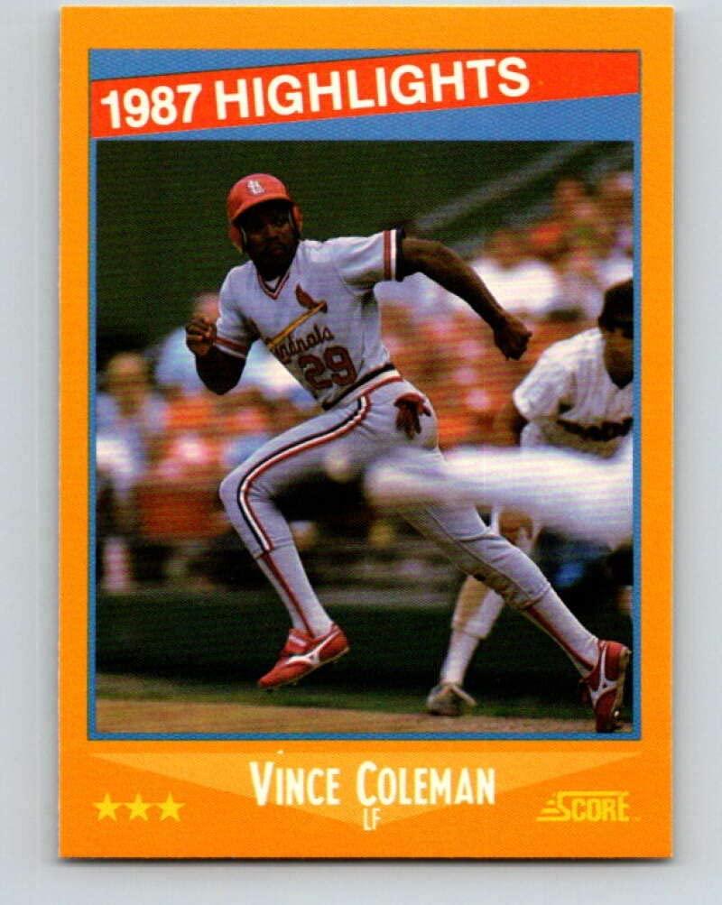 1988 Score #652 Vince Coleman HL Mint Baseball MLB Cardinals