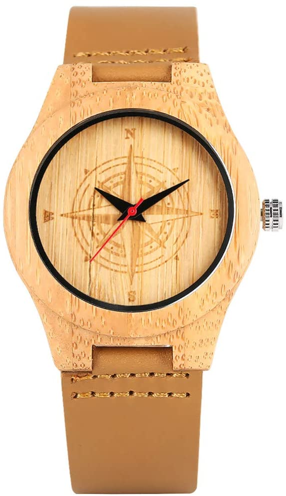 FQD&BNM Wooden Watch Women's Watch Delicate Brown Eco-Friendly Natural Quartz Bamboo Watches Compass Design Pattern Bamboo Wristwatch