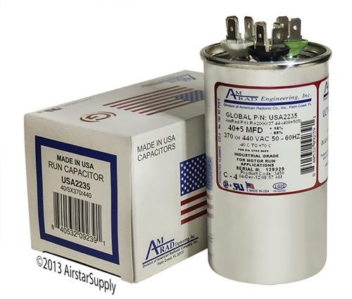 ICP 1094980-40 + 5 uf MFD 370/440 Volt VAC AmRad Round Dual Run Capacitor, Made in The U.S.A.