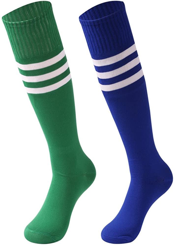 saounisi Unisex Tube Socks Stripe,2 Pairs Knee High Football Soccer Volleyball Baseball Cheerleading Team Socks