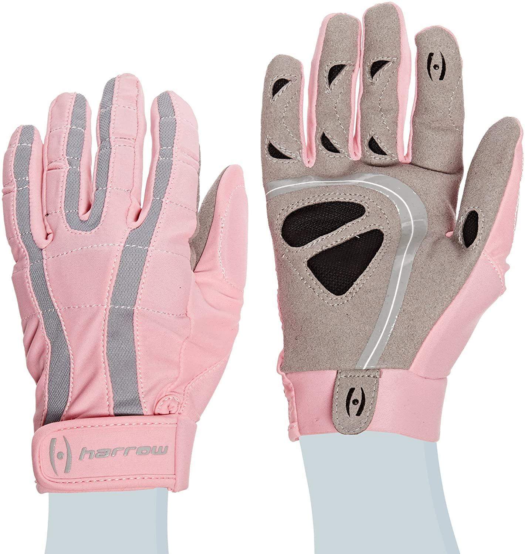Harrow Rampart Women's Lacrosse Glove, Large, Pink/Steel