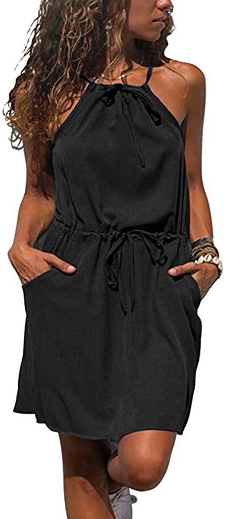 HTHJSCO Women Beach Mini Short Dress, Women's Summer Halter Neck Floral Print Sleeveless Casual Mini Dress