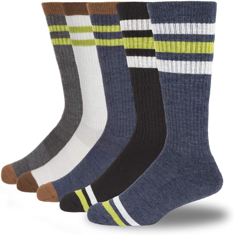 +MD 5 Pack Men's Merino Wool Hiking Socks-Moisture Wicking Stripe Cushioned Athletic Socks