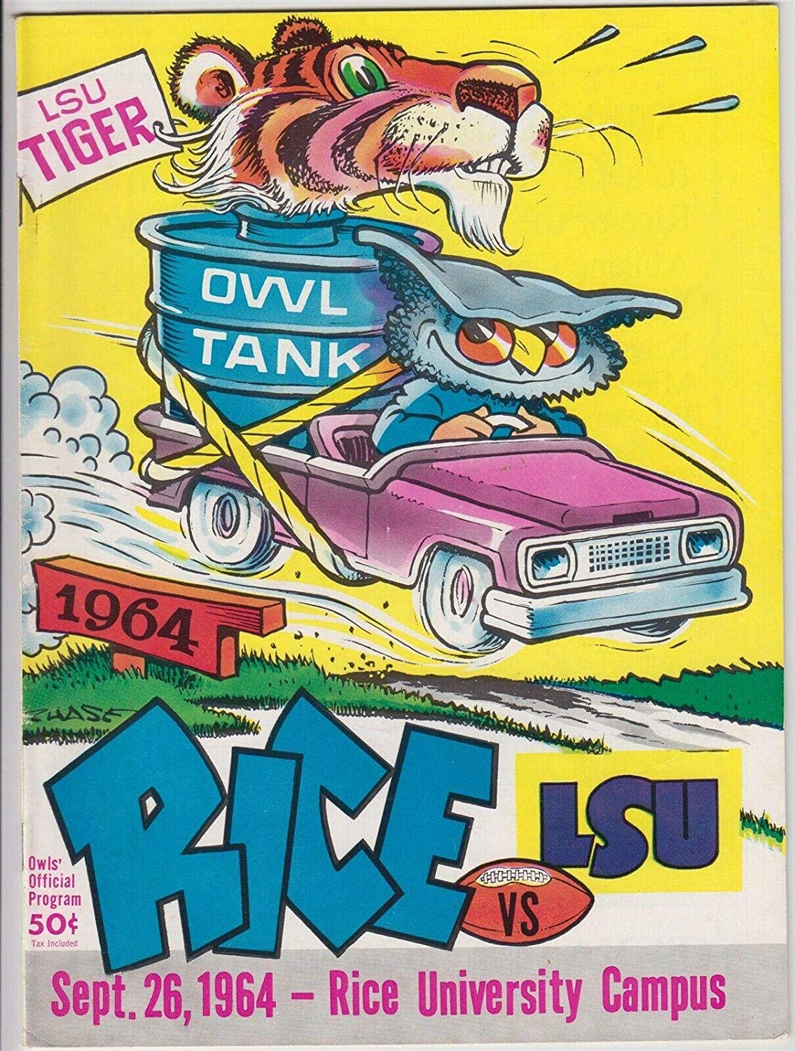 1964 LSU Tigers v Rice Owls Football Program 9/26 Chase Cover Ex/MT 53308b31 - College Programs