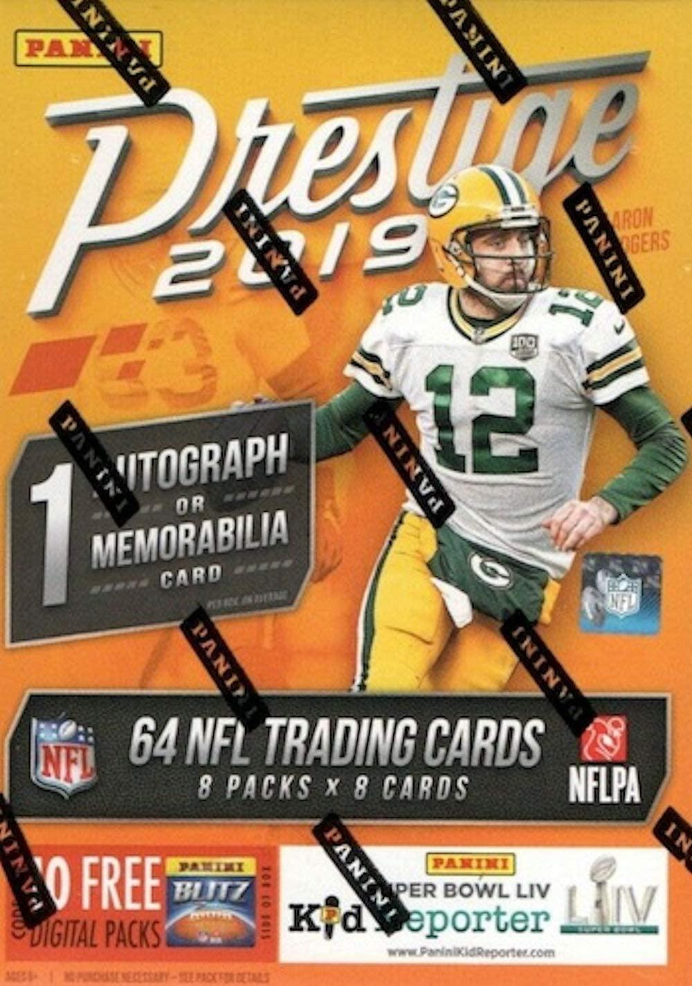 2019 Panini Prestige NFL Football BLASTER box (64 cards incl. ONE Memorabilia or Autograph card)