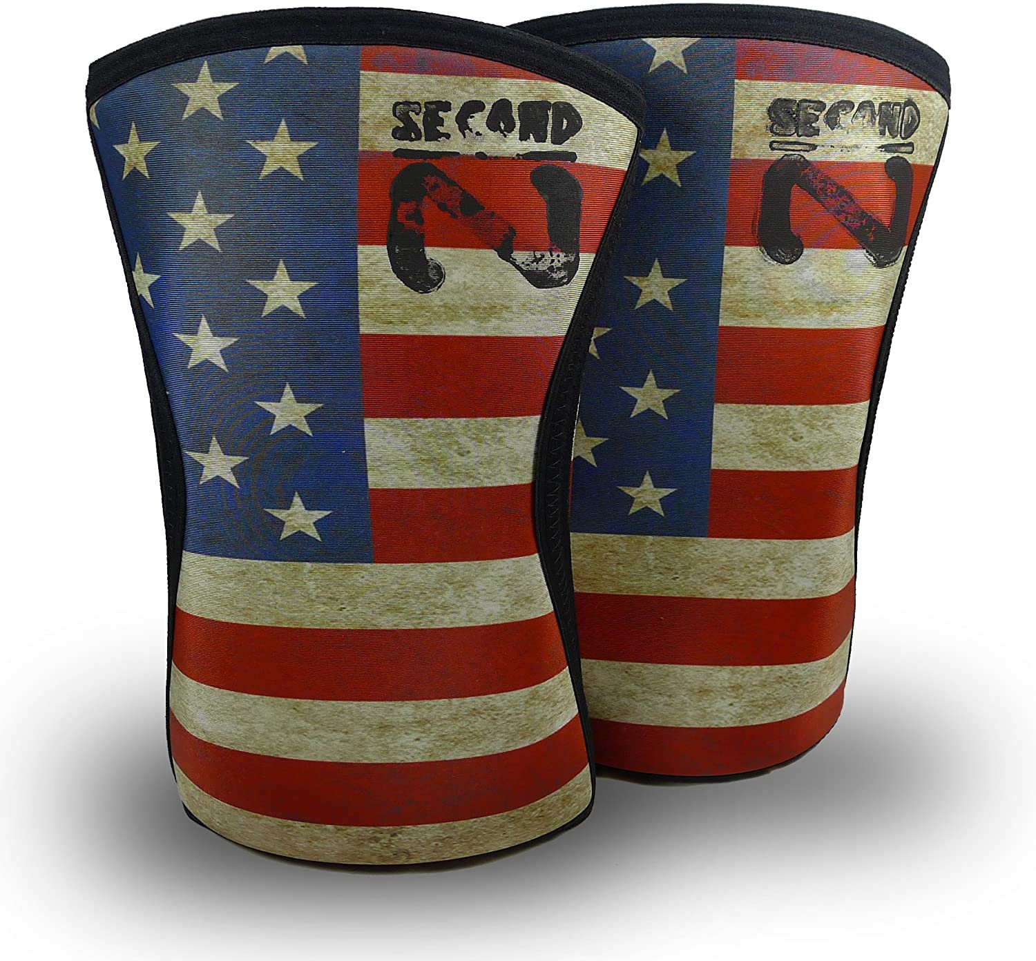 Second Nature Color US Flag Knee Sleeves (1Pair) 7mm Neoprene Support for Weightlifting Powerlifting Unisex