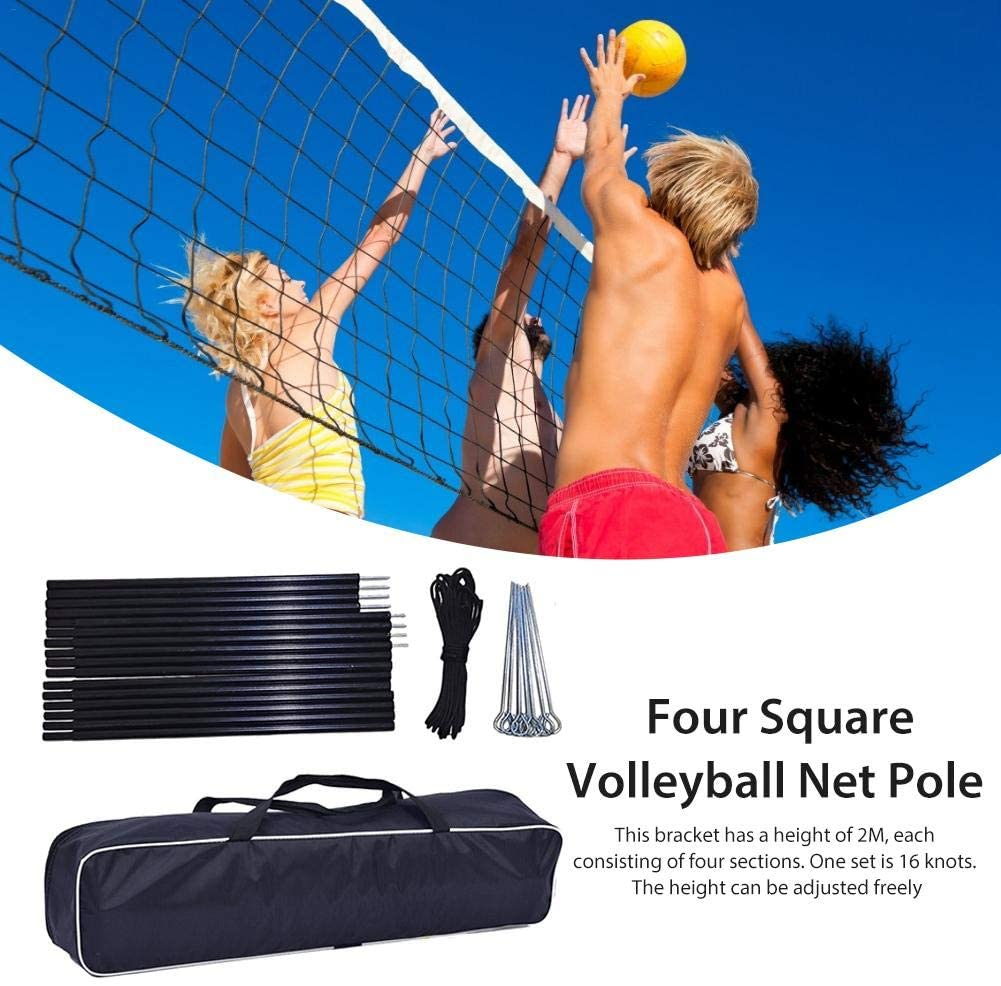 Volleyball Net Poles Set, Portable 4-Sided Volleyball Net Poles Set with Black Storage Bag for Beach Outdoor Backyard
