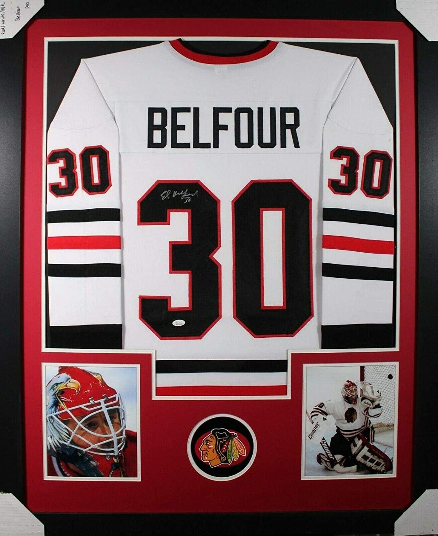 Autographed Ed Belfour Jersey - Framed w COA 2) - JSA Certified - Autographed NHL Jerseys
