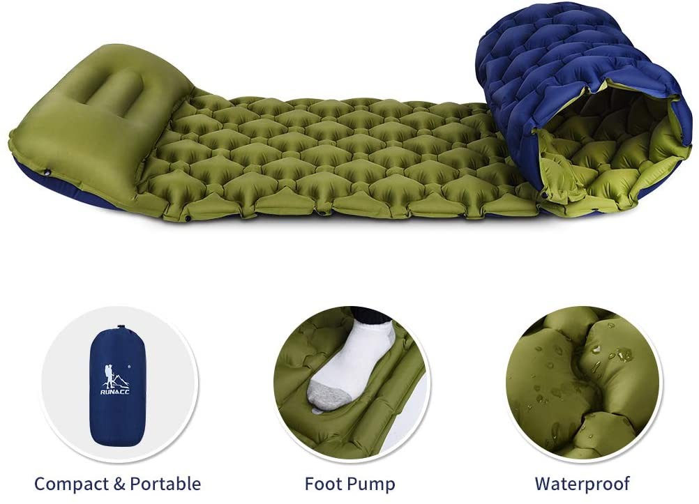 RUNACC Camping Sleeping Pad Waterproof Fast Inflatable Camping Mat with Pillow Pad, Compact Sleeping Mat with Buttons to Make Double Bed for Backpacking, Hiking, Traveling