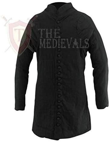 Medieval Thick Padded Full Length Gambeson Aketon Jacket Coat Armor - Black