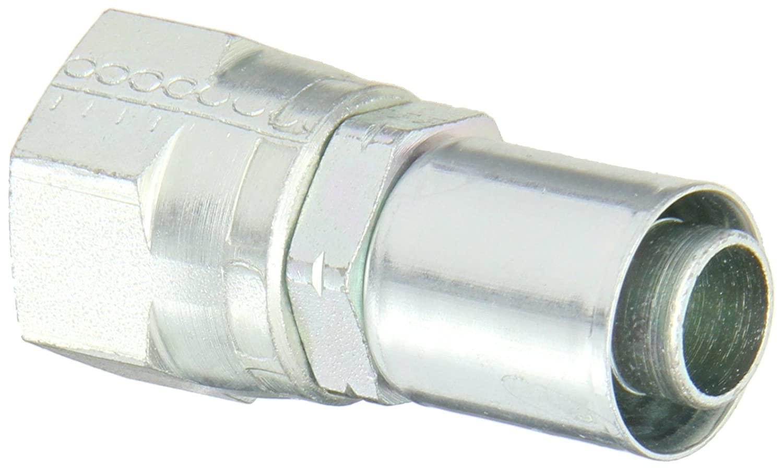 Aeroquip FC7216-1010S Carbon Steel PTFE Crimp Hose Fittings SAE 45 Degree Female Swivel, Straight, 5/8