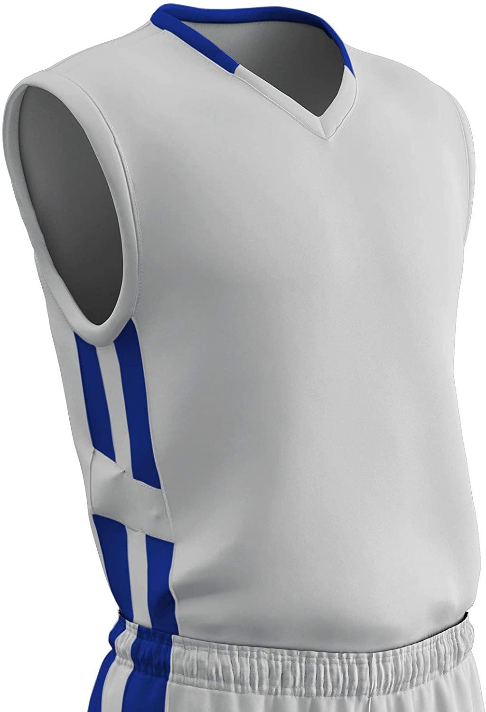 CHAMPRO Muscle Dri Gear Polyester Basketball Jersey, Youth Small, White, Royal
