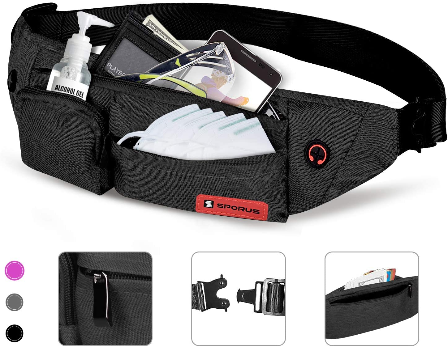 SPORUS Fanny Pack for Men and Women, Waist Bag with 4 Zipper Pockets, Belt Bag Soft Polyester for Running Hiking Cycling Traveling