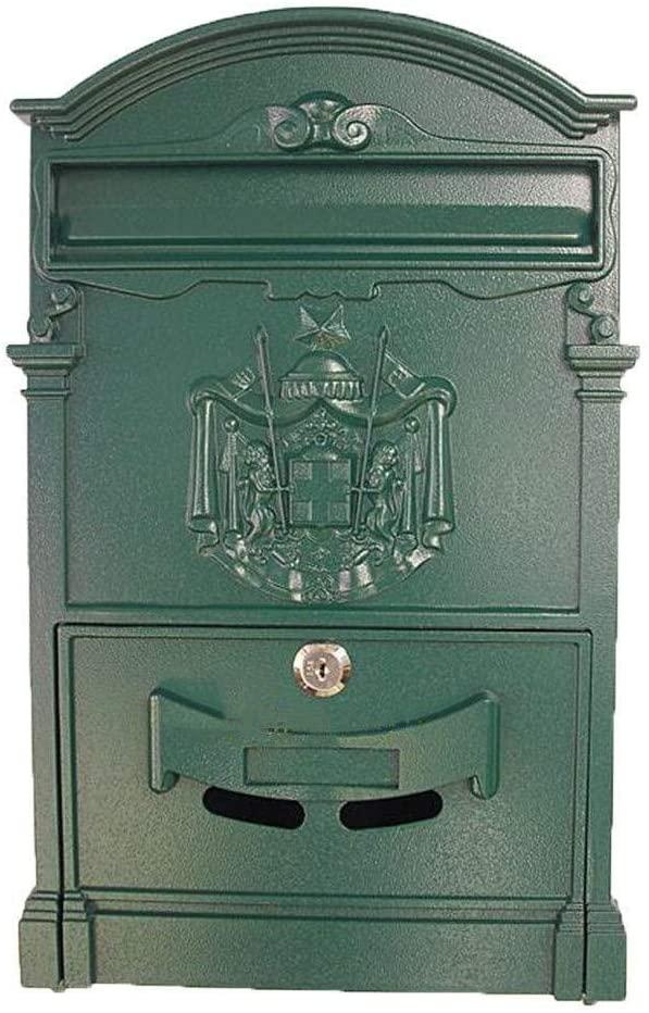 JN Outdoor Wall-Mounted Mailbox Post Box Mailbox Metal Letter Storage Box Retro Wall Hanging Green Letter Box Lockable Weatherproof Mailbox