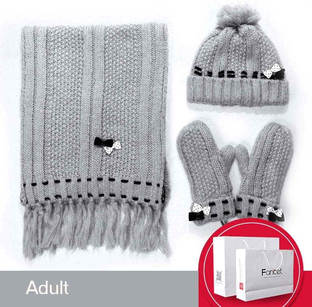 Uoyov Modern New Scarf Hat Wool Gloves 3 Sets of Female Autumn and Winter Children Thick 1 Set of Korean Students Solid Color Thick Warm and Velvet Outdoor Hiking Skiing Riding Warm Gl
