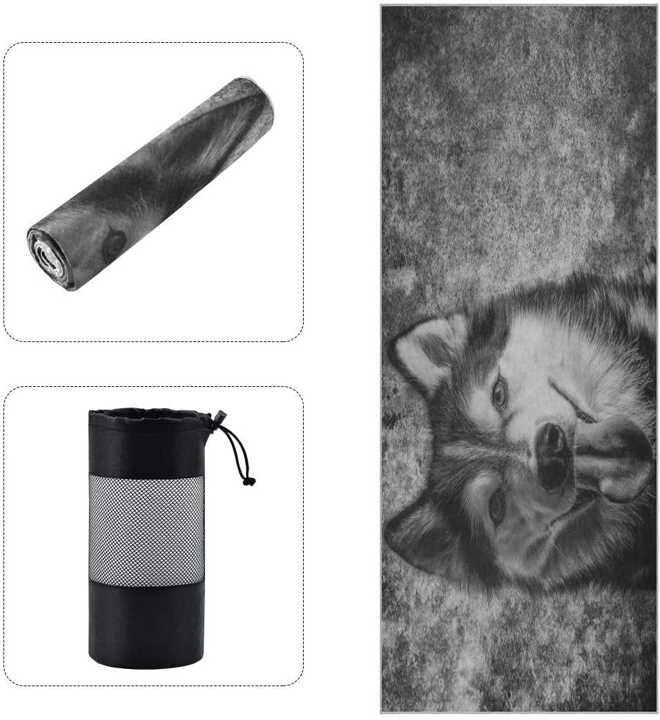 N /A Vintage Wolf Dog Retro Yoga Mat Towels Nonslip Soft Comfy for Hot Yoga, Bikram, Pilates, Fitness