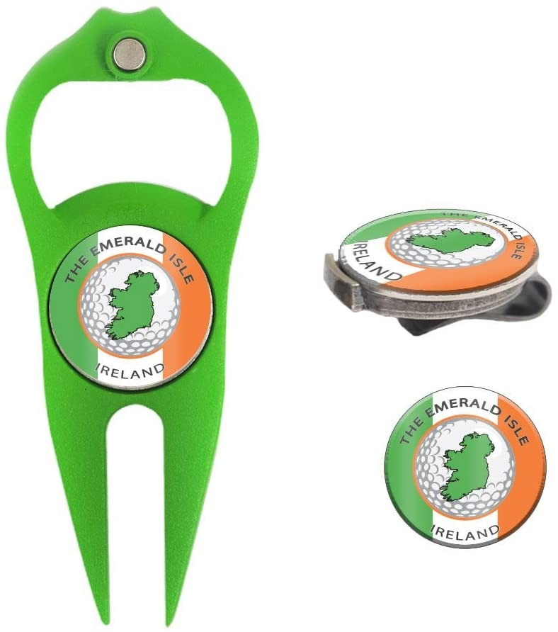 Hat Trick Openers 6-in-1 Golf Divot Tool & Hat Clip Set with Ireland Logo, Kelly Green
