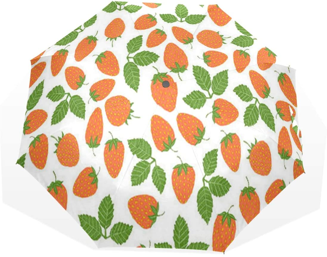 HangWang Umbrella Strawberry Travel Golf Sun Rain Windproof Umbrellas with UV Protection for Kids Girls Boys