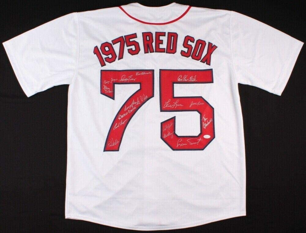 1975 BOSTON RED SOX TEAM SIGNED JERSEY (!) - Fisk, Tiant, Rice, Evans, Lynn, JSA Certified - Autographed MLB Jerseys