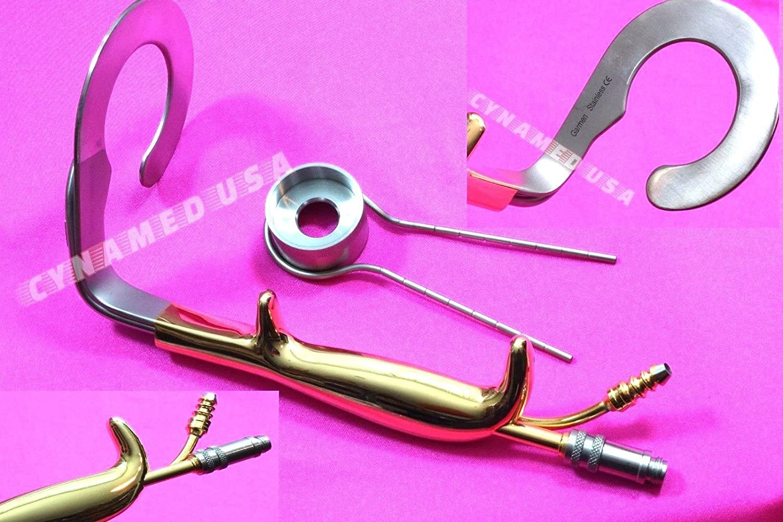 PREMIUM GERMAN Ring Breast Retractor With Fiber Optic illumination & Irrigation Tube