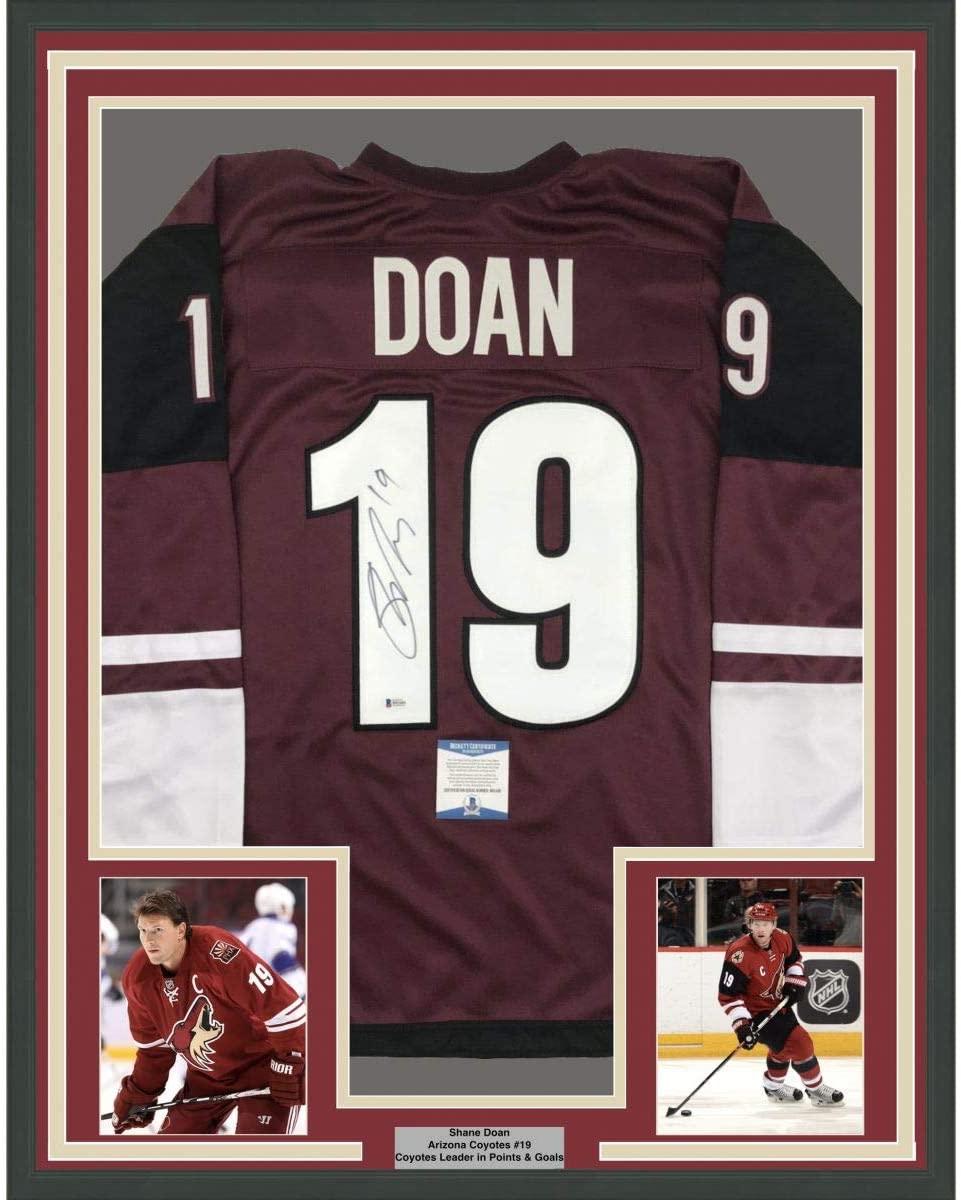 Framed Autographed/Signed Shane Doan 33x42 Arizona Maroon Hockey Jersey Beckett BAS COA