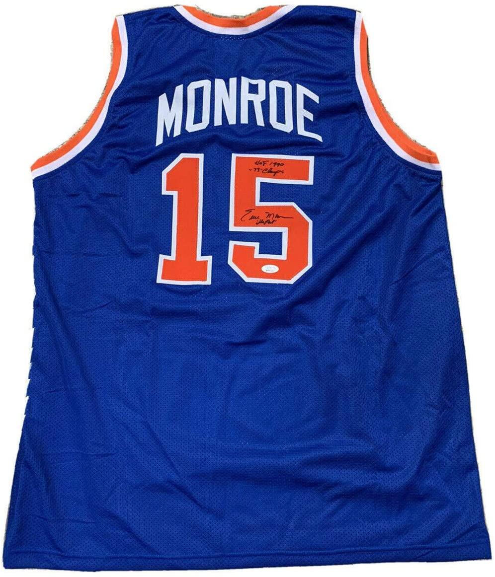 Autographed Earl Monroe Jersey - Away Blue - JSA Certified - Autographed NBA Jerseys