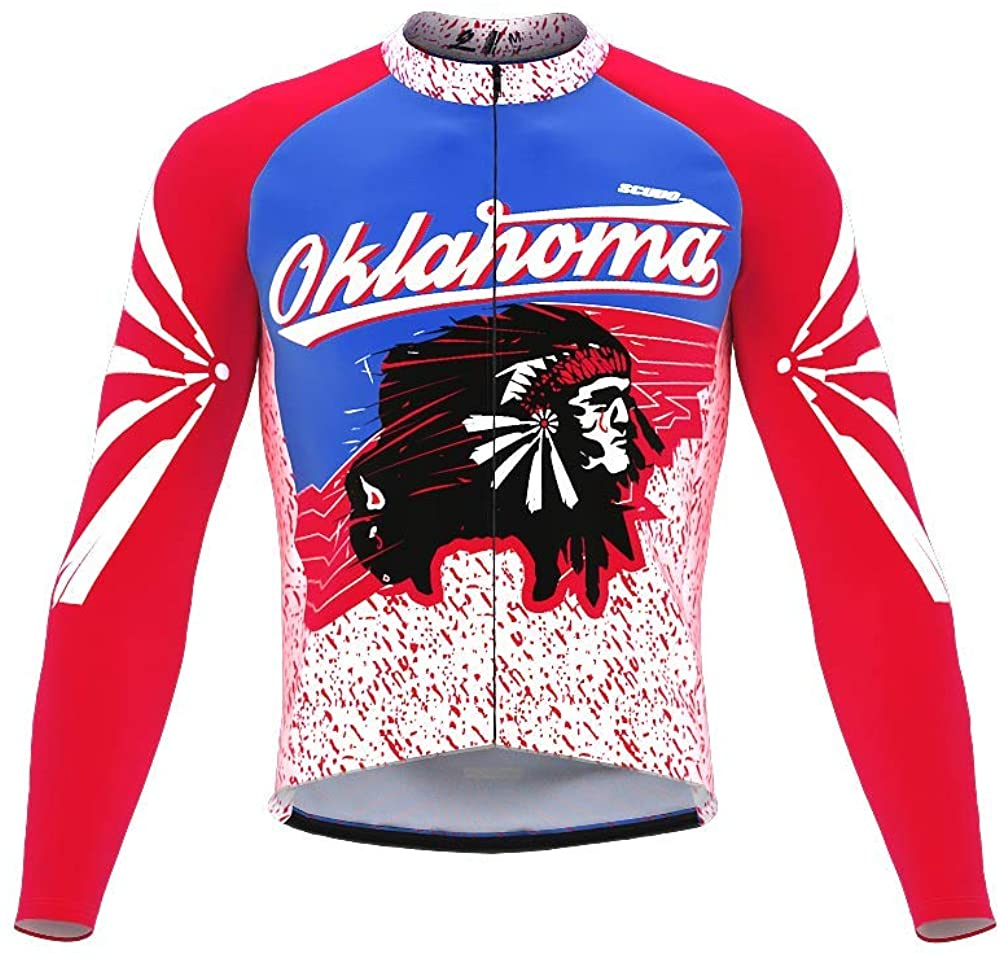 ScudoPro Pro Thermal Long Sleeve Cycling Jersey Oklahoma USA State Icon Landmark Identity for Men