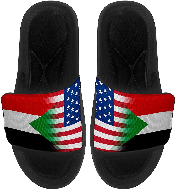 ExpressItBest Cushioned Slide-On Sandals/Slides for Men, Women and Youth - Flag of Sudan (Sudanese) - Sudan Flag